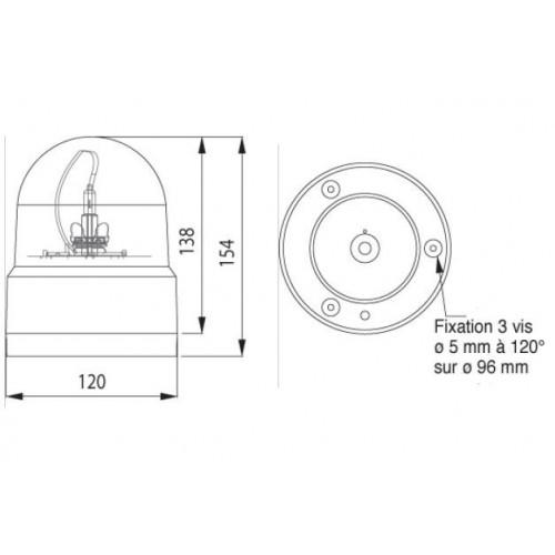 Gyrophare rotatif EUROROT 12V
