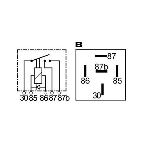 Relais 12 V 2 x 20 A avec diode