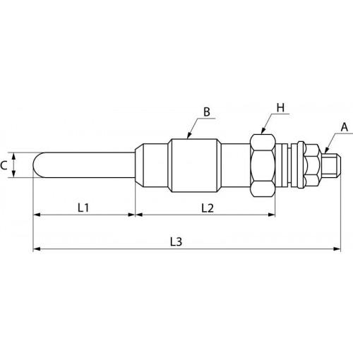 Bougie de préchauffage 12 V, Kubota 15951-65512, Delphi HDS248