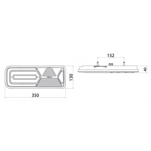 LC12 LED - Feu arrière LED Gauche 24V, Conn additionnels, triangle vignal 161000