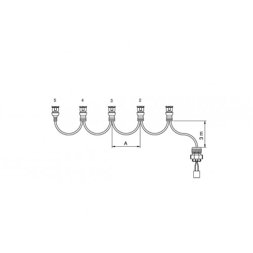 FCA - Faisceau feux latéraux 3 connecteurs JPT 3,5 m vignal 280089