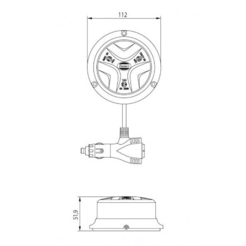 Gyrophare Dasteri DSL 480M Magnétique 12/24 Volts
