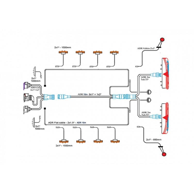 KIT - Kit complet feux + câblage semi-remorques Lampe/LED vignal A11212