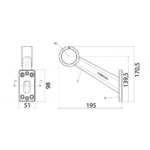DX - Feu de gabarit et d'encombrement Ampoules 12/24V cristal + rouge câble vignal D10642