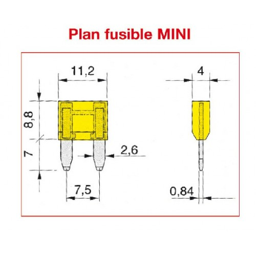 FUSIBLES MINI 20 AMPERE x25