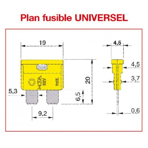Fusible UNIVERSEL SAE J 1284 / DIN 72581 - ISO 8820