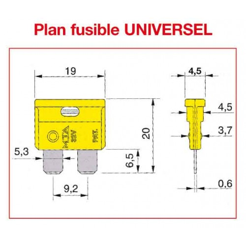 FUSIBLESFusible UNIVERSEL SAE J 1284 / DIN 72581 - ISO 8820 A FICHE 25 AMP