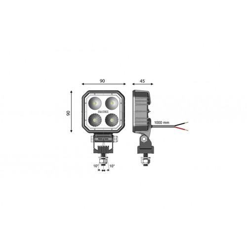 CARBONLUX - Phare de travail LED CARBONLUX carré 90X90mm - cable VIGNAL D14547