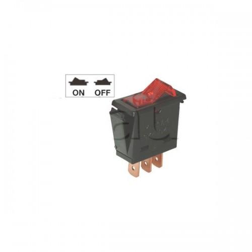 Interrupteur à bascule miniature - Bouton lumineux rouge
