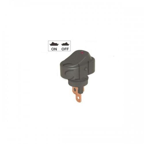 Mini interrupteur à bascule ON-OFF - Perçage ø 10 mm - Avec voyant à LED 12V