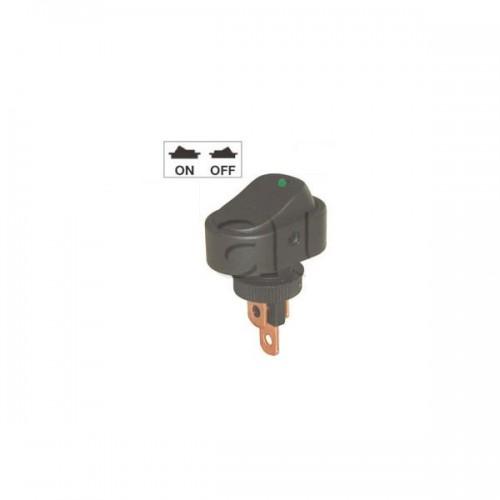 Mini interrupteur à bascule ON-OFF - Perçage ø 10 mm - Avec voyant à LED 24V