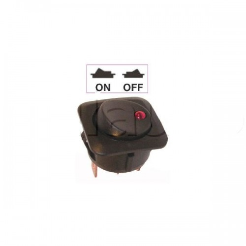 nterrupteur à bascule rouge ON-OFF - Perçage ø 26 mm - Avec voyant Led 12V