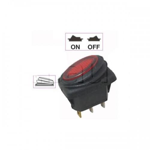 Interrupteur à bascule ON-OFF - Perçage 23 x 11,5 mm - Eclairage par LED ROUGE 12V