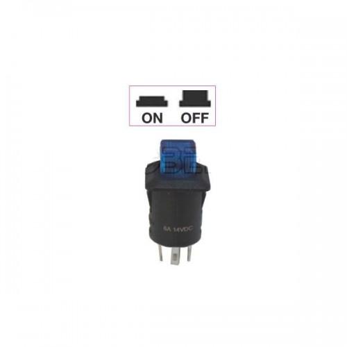Interrupteur - contacteur à bouton poussoir ON-OFF - Avec bouton Led lumineux BLEU 12V