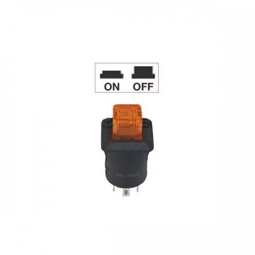 Interrupteur - contacteur à bouton poussoir ON-OFF - Avec bouton Led lumineux ORANGE 12V