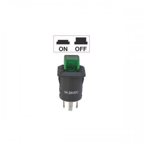 Interrupteur - contacteur à bouton poussoir ON-OFF - Avec bouton Led lumineux VERT 12V