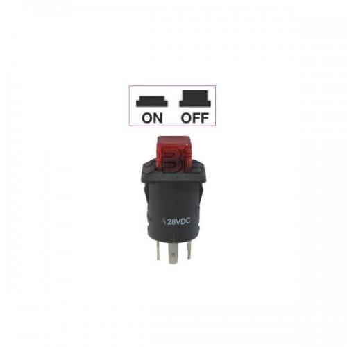 Interrupteur - contacteur à bouton poussoir ON-OFF - Avec bouton Led lumineux ROUGE 24V
