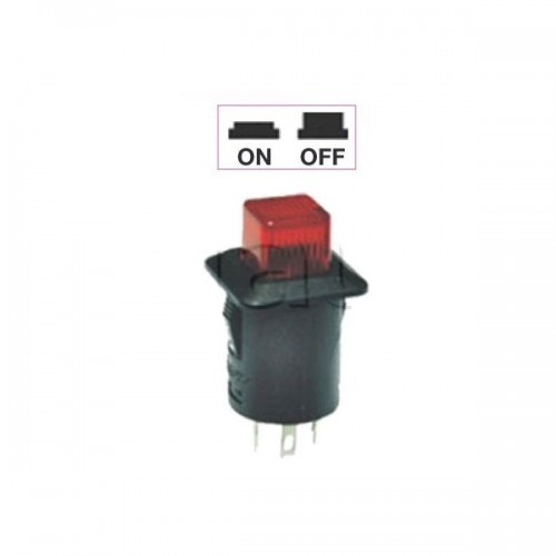 Interrupteur - contacteur à bouton poussoir ON-OFF - Avec bouton Led lumineux ROUGE 12V
