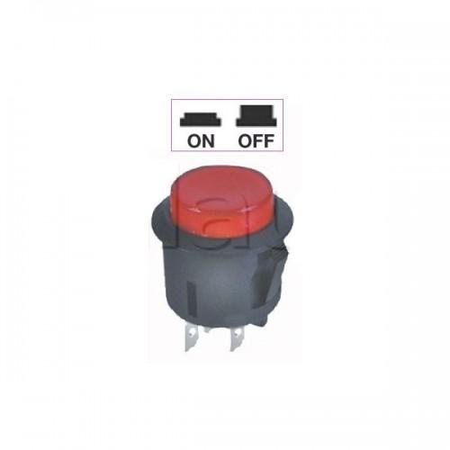 Interrupteur - contacteur à bouton poussoir ON-OFF - Avec bouton lumineux en position ON ROUGE 12V