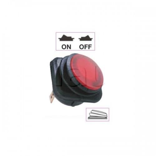 Interrupteur à bascule ON-OFF - Perçage ø 26 mm - Eclairage par LED ROUGE 24V
