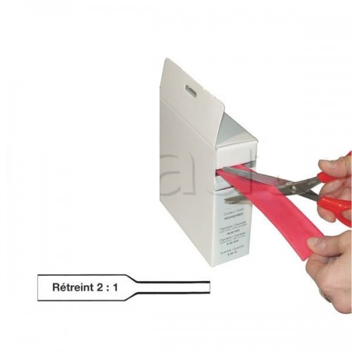 Gaine thermorétractable - Boîte dévidoir carton - Rétreint en diamètre 2 : 1 - Standard NOIRE 6,4mm(12M)
