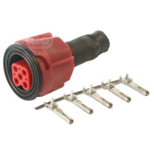 Connecteur de feux de remorque 5 poles Rouge
