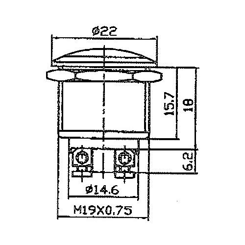 Bouton poussoir miniature 12V.16A