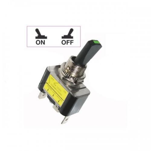 Interrupteurs à tige plastique 15 mm avec voyant Led lumineux - Connexions à fiches 6,35 mm - Série haute performance VERT 12V