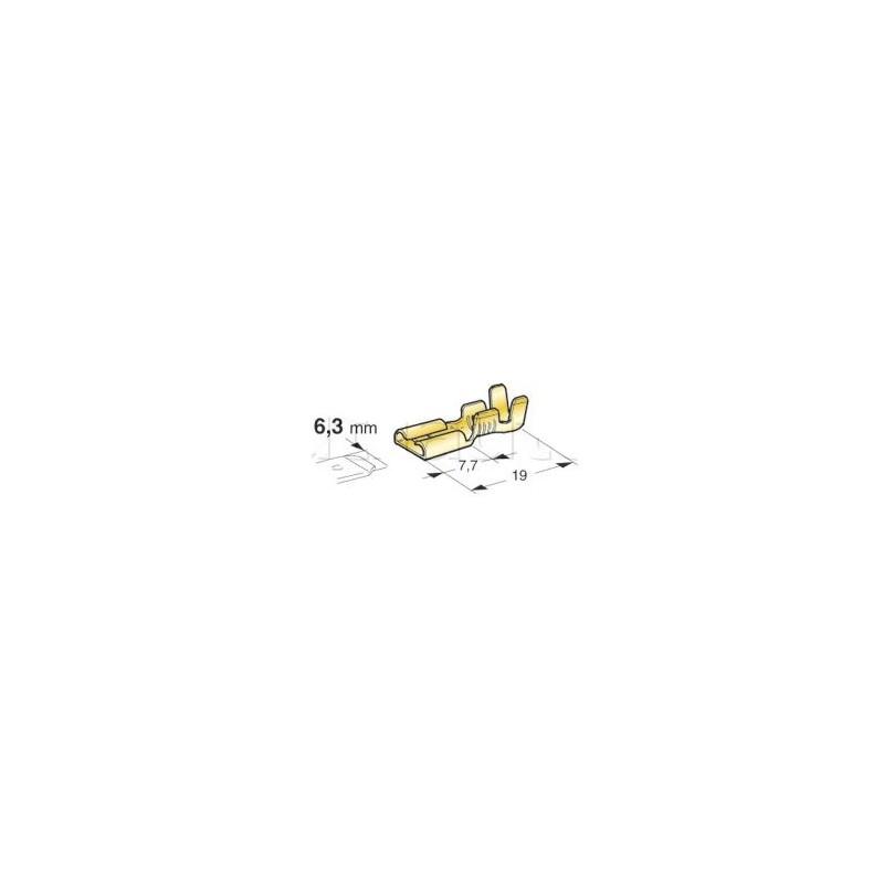 Cosses femelles à boîtier laiton brut 6.35 mm