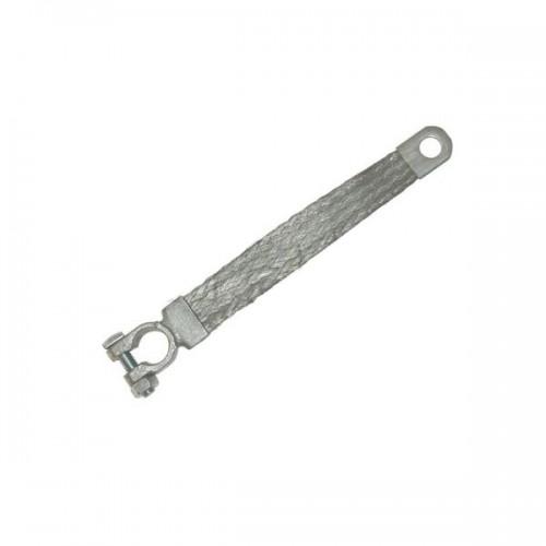 Tresse de masse cuivre étamé avec un collier de batterie négatif et 1 embout à trou M8 (8 mm) M8-25mm2-300mm