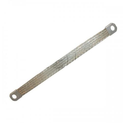 Tresse cuivre étamé à 2 embouts trous diamètre M8 (8mm) -16mm2-450mm