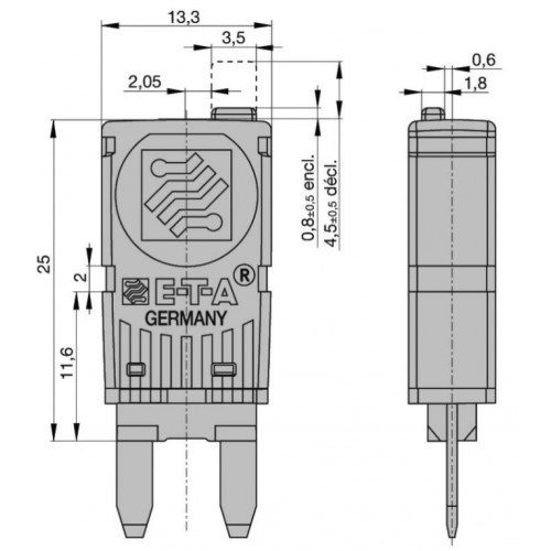 Fusibles disjoncteurs MINI réarmables manuellement 5A