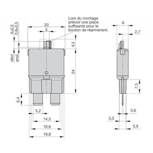 Fusibles disjoncteurs universels réarmables manuellement 7.5A