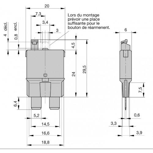 Fusibles disjoncteurs déclenchables et réarmables manuellement 20A