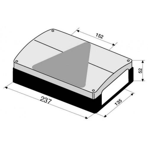 Feu arrière compact à ampoules - 12 Volts - 235 x 135 x 52 mm GAUCHE RECTANGLE