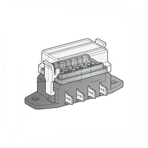 Boîte à fusibles pour 4 fusibles UNIVERSELS - Connexions par fiches plates sur le côté de la boîte