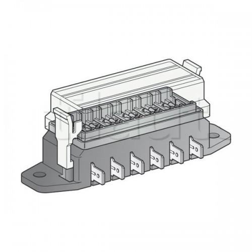 Boîte à fusibles pour 6 fusibles UNIVERSELS - Connexions par fiches plates sur le côté de la boîte