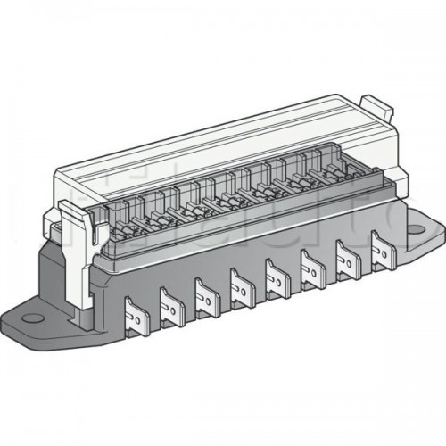 Boîte à fusibles pour 8 fusibles UNIVERSELS - Connexions par fiches plates sur le côté de la boîte
