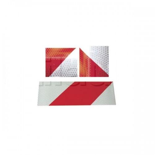 Bandes adhésives alternées pour véhicules d'intervention blanc/rouge rétro réfléchissant 2x45.7