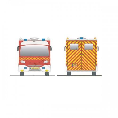 Bande adhésive alternée - rouge/jaune fluo pour véhicules de secours et lutte contre l'incendie2x45M JAUNE/ROUGE POMPIER