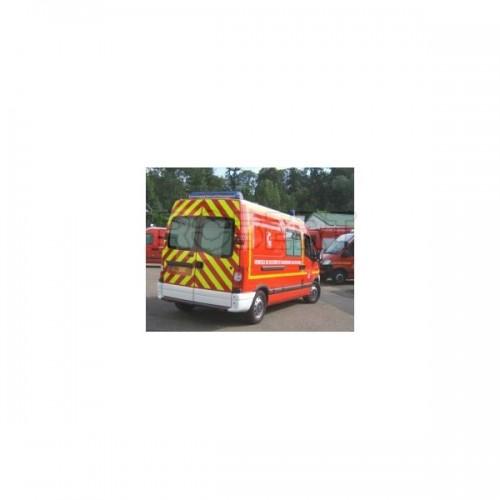 Bande adhésive signalisation latérale jaune fluo POMPIER 45.7MX55MM