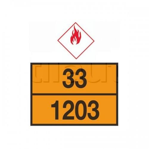 Rectangle d'identification orange réfléchissant 400 x 300 plaque galva avec numéros emboutis - ADR. 33-1203