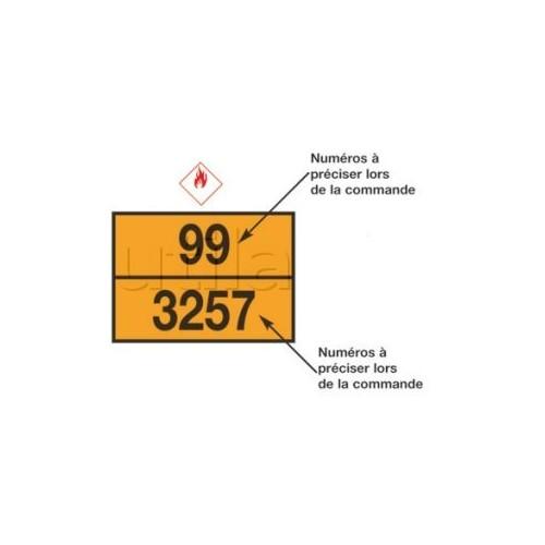 Rectangle d'identification orange réfléchissant 400 x 300 plaque galva avec numéros emboutis - ADR