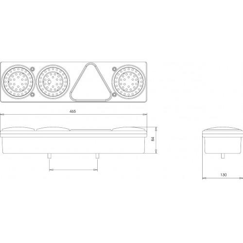 Feu arrière combiné à Leds - 24 Volts - L 465 x l 130 x Ep 84 mm - IP67 DROIT