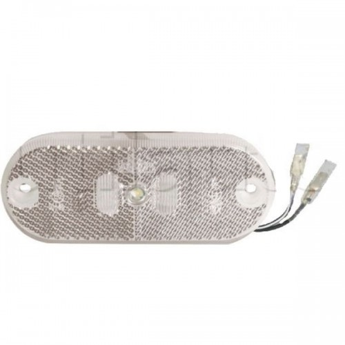 Feu de position avant LED Blanc Catadioptre - 110 x 45 x 13 mm - IP67 12 Volts