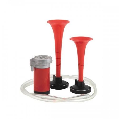 Avertisseur avec électro-compresseur 2 trompes PVC - Sous blister 17A 12V