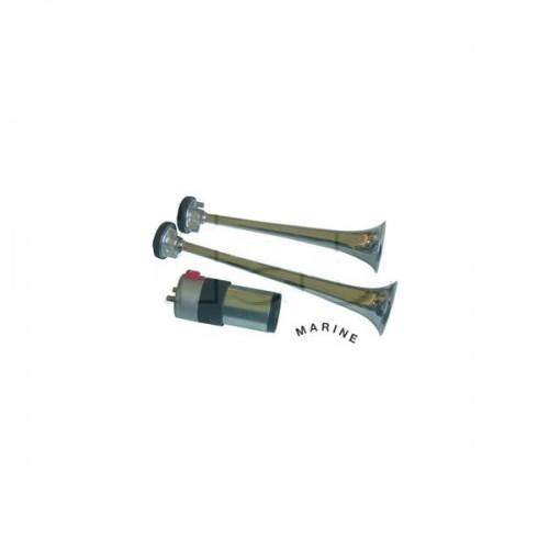 Avertisseur avec électro-compresseur 2 trompes métal - Marine