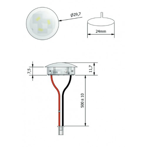 Plafonnier 3 Leds - A insérer - ø 29,7 mm x Ep 11,7 mm 24V