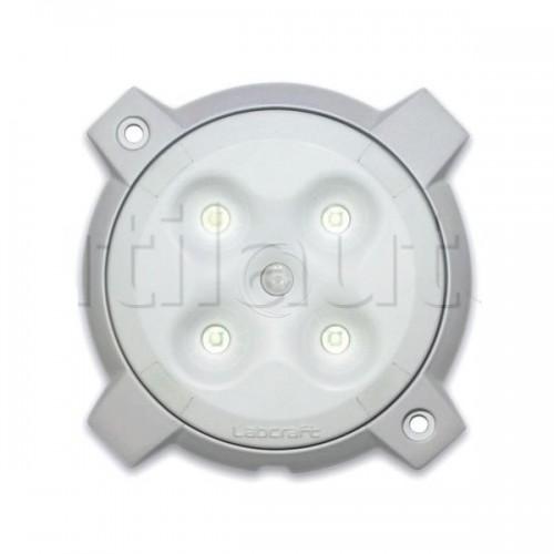 Plafonnier 4 Leds avec détecteur de mouvement - A poser -ø 132 x Ep 12,5 mm - IP66