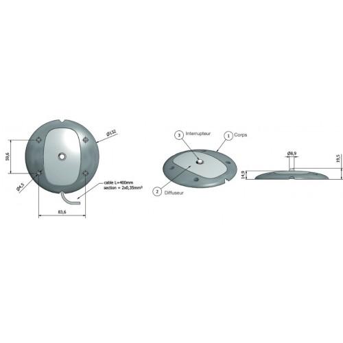 Plafonnier 4 Leds avec détecteur de mouvement - A poser - 12/24 Volts - ø 132 x Ep 15 mm - IP67